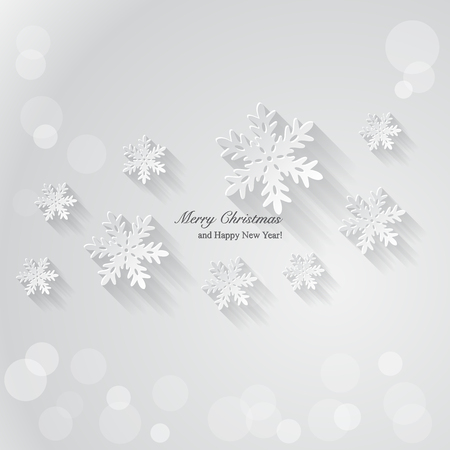 Christmas background with paper snowflakes. Vector Illustration. Vector