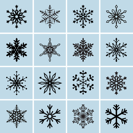 Snowflake icons. Vector collection Vector