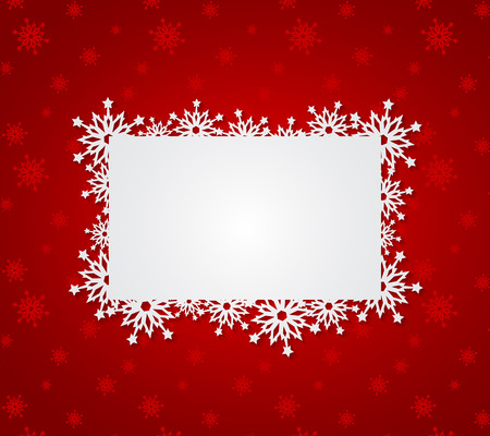 design frame: Red Christmas background with paper snowflakes. Vector illustration
