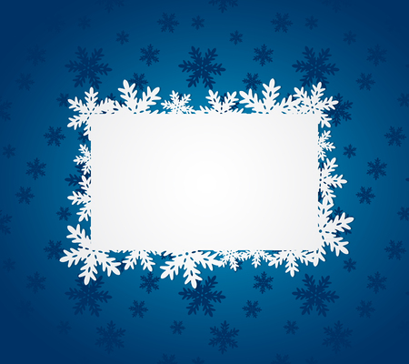 blue christmas: Blue Christmas background with paper snowflakes. Vector illustration