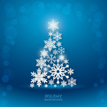 Christmas blue background with Christmas Tree made of paper snowflakes this long shadow.