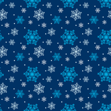 Seamless blue pattern with snowflakes. Vector Vector