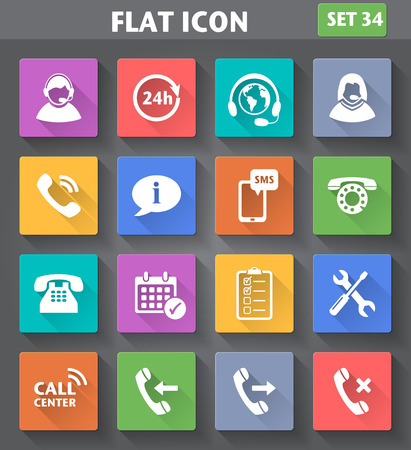 Vector application Call Center Service Icons set in flat style with long shadows.