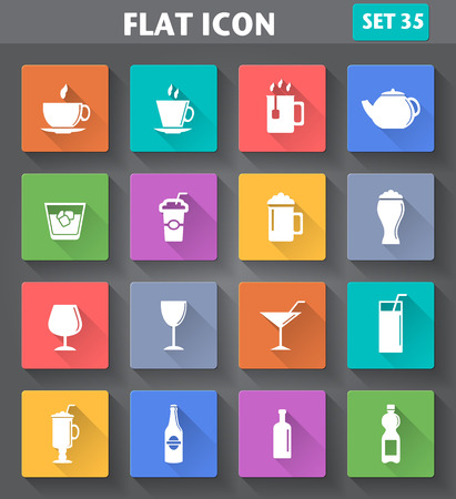 whisky bottle: Vector application Drinks Icons set in flat style with long shadows.