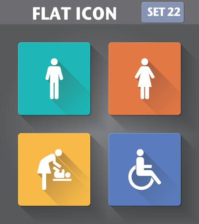 silla de rueda: Vector de aplicaci�n del lavabo conjunto de iconos: hombre, mujer, silla de ruedas s�mbolo de la persona y para cambiar pa�ales en estilo plano con largas sombras.