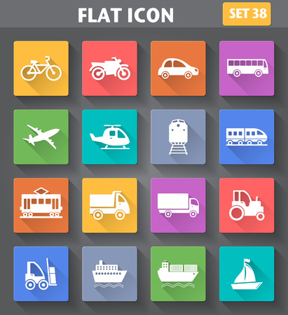 railway transportations: Vector application Transport Icons set in flat style with long shadows.