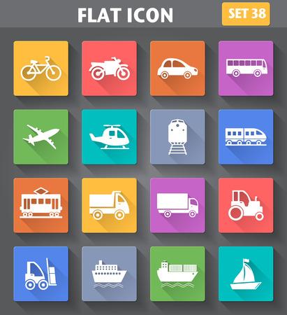 Vector toepassing Transport Icons set in vlakke stijl met lange schaduwen. Stock Illustratie
