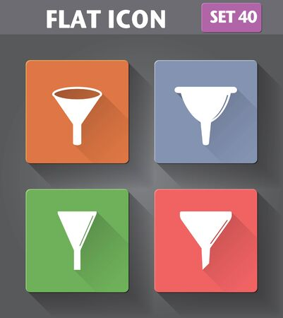 Vector application Filter, Funnel Icons set in flat style with long shadows. Illustration