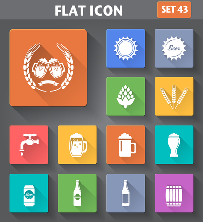 clang: Vector application Beer Icons set in flat style with long shadows. Illustration