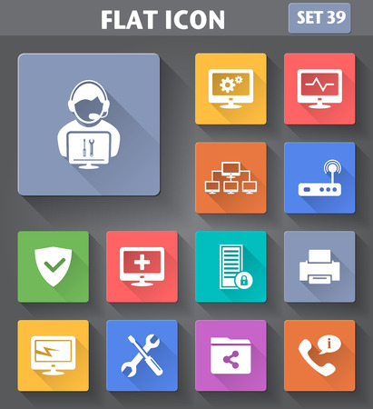 it technology: Vector application Computer Technician Icons set in flat style with long shadows. Illustration