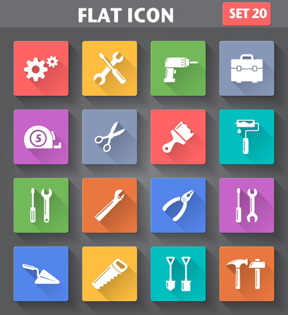 engineering tools: Vector application Tools Icons set in flat style with long shadows.