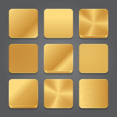 shape: App icônes fond réglé. Métal doré icônes de boutons. Vector illustration