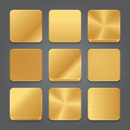 square buttons: App icons background set. Golden metal button icons. Vector illustration