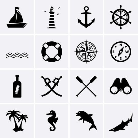 Nautical icons. Vector for web