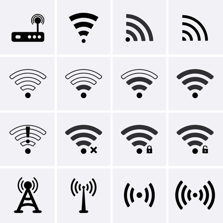 Wireless and Wifi icons. Vector