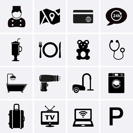 cleaning bathroom: Hotel Services and Facilities Icons. Set 1. Vector