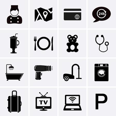 Services de l'hôtel Equipements icônes. Set 1. Vecteur Banque d'images - 38722724