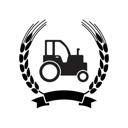 Farm tractor icon. Vector