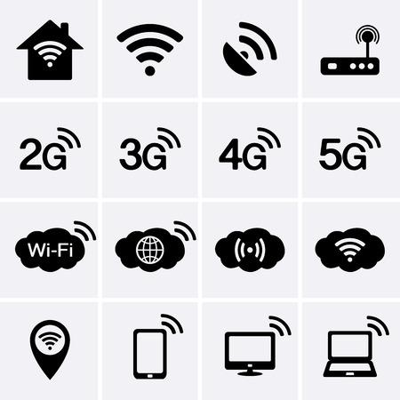 Bezdrátové a Wifi ikony. 2G, 3G, 4G a 5G symboly technologie. Vector Ilustrace