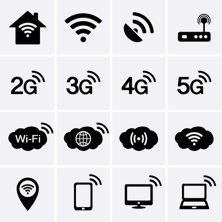 communication icons: Wireless and Wifi icons. 2G, 3G, 4G and 5G technology symbols. Vector