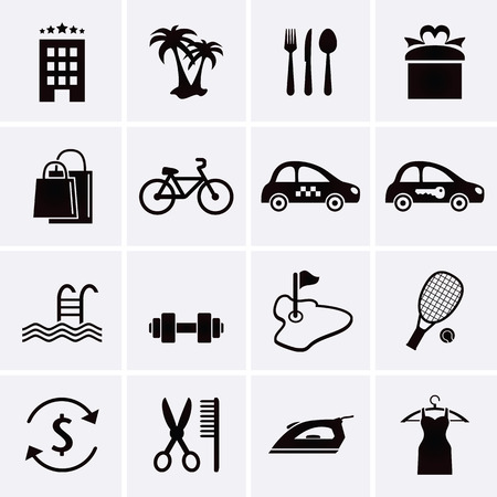 concierge: Hotel Services and Facilities Icons. Set 3. Vector