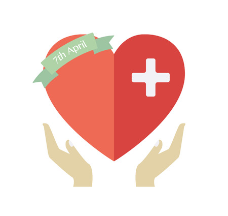 World Health Day. Concept with heart. Vector