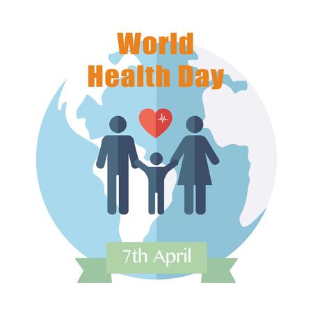 zdraví: Světový den zdraví. Koncept s zeměkoule. Vektor