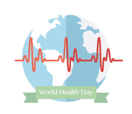 wellness background: World Health Day. Concept with globe. Vector Illustration