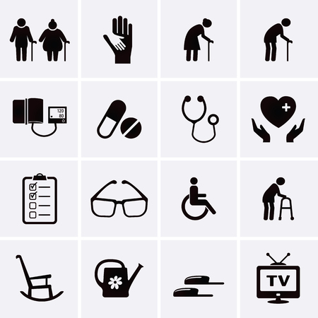 wheelchair: Pensioner and Elderly Care Icons. Vector set