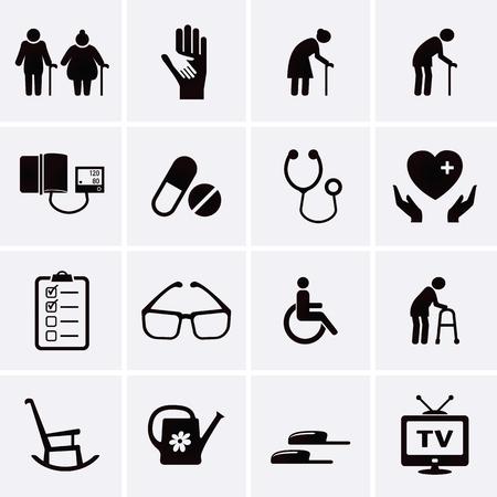 pensionado: Pensionista y los iconos de atención a los mayores. Vector conjunto Vectores