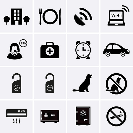 mini bar: Hotel Services and Facilities Icons. Set 2. Vector