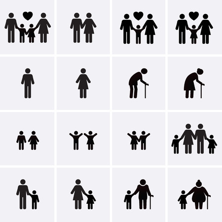 familias jovenes: Iconos de la familia. Vector conjunto