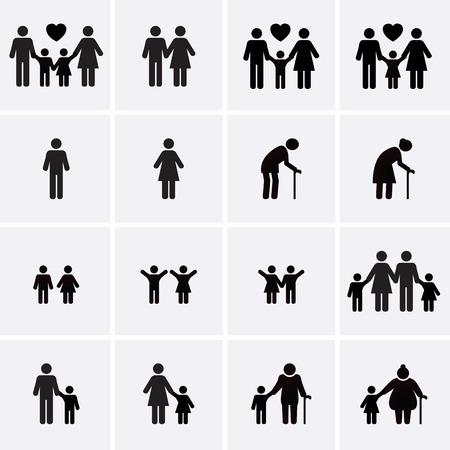 rodzina: Ikony rodzinne. Wektor zestaw