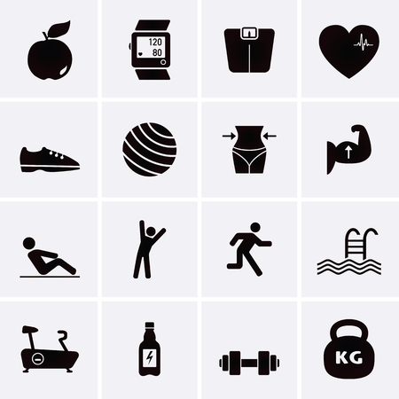 Fitness and Sport Icons. Vector set for web