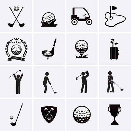 golf man: Golf Icons. Vector set Illustration