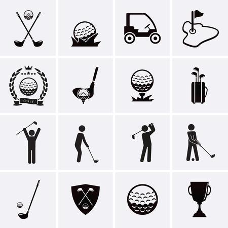 Iconos Golf. Vector conjunto