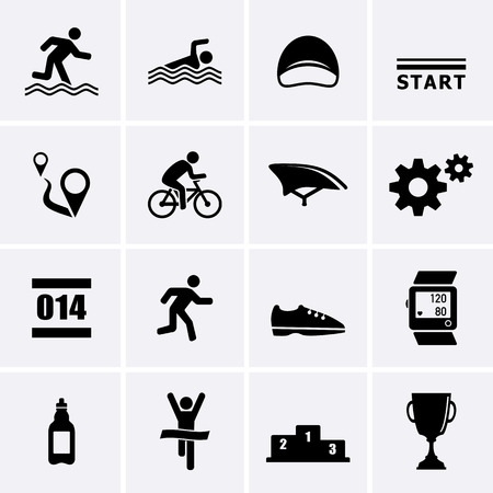 cycling helmet: Triathlon Sport Icons. Vector set for web