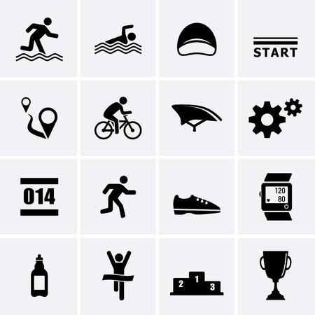 swim race: Triatl�n Deporte Iconos. Vector conjunto para la web Vectores
