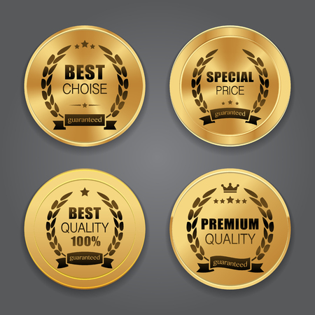 Golden metal badges. Label collection