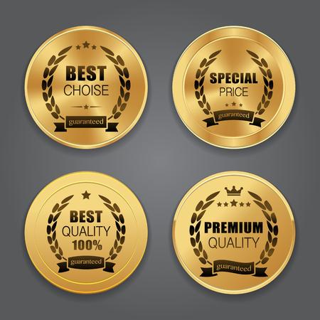 reconocimientos: placas de metal de oro. colección de etiquetas