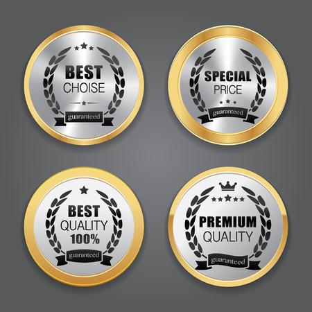 metallic: Metallic badges. Label collection Illustration