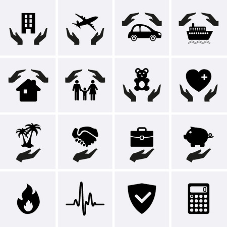 life event: Insurance Hand Icons. Vector set