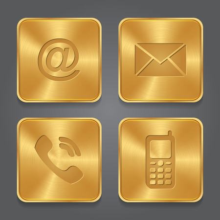 Gold Metal contact buttons - set icons - email, envelope, phone, mobile. Vector