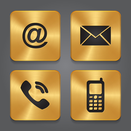 website buttons: Gold Metal contact buttons - set icons - email, envelope, phone, mobile. Vector