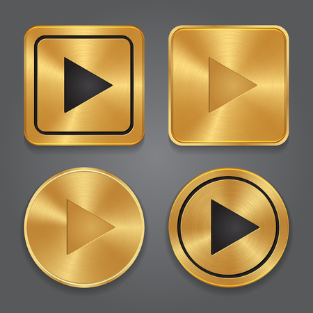 internet button: Gold metalic Play button, set app icons. Vector