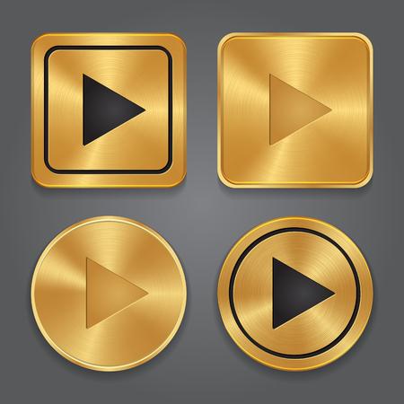 iconos de música: Oro botón Reproducir metálico, establecidos iconos de aplicación. Vector