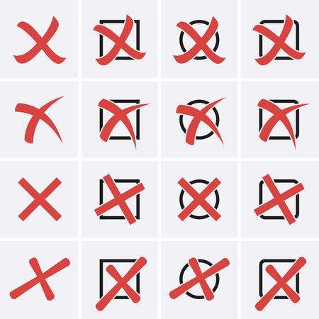 cross: Cross Marks Icons in boxes. Vector for web Illustration