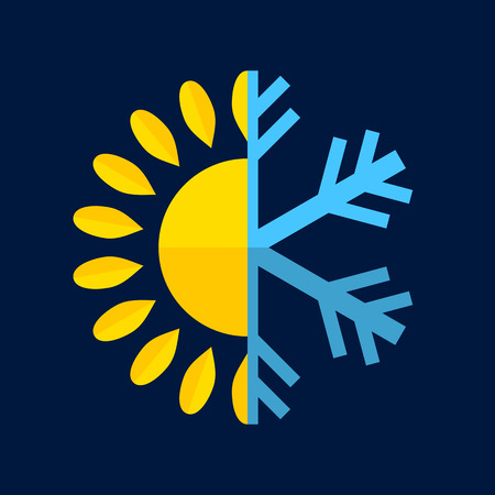 cold: Hot and Cold Temperature Icon. Vector