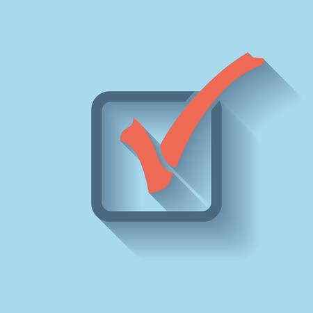 check icon: Check List Icon. Check Mark in box. Flat icon