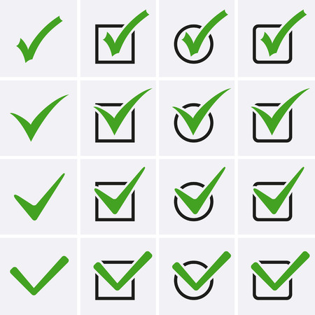 Check Marks or Ticks Icons in boxes. Vector for web